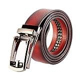 EMPERSTAR Cinturón de Cuero Para Hombre con Hebilla Abierta Vestido Para Hombre Cinturones de Jeans Casuales Vino Tinto Talla 36