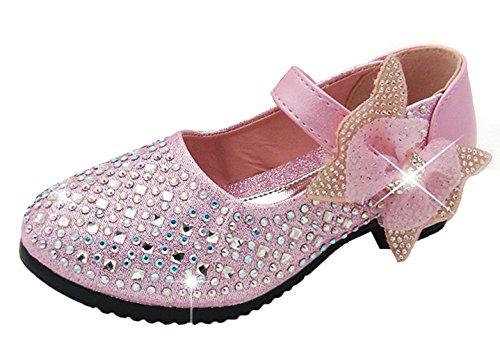 Agares Mädchen Glitzer Ballerinas Festliche Schuhe Kinderschuhe für Party Hochzeit (29 Innerlänge 17,5cm, Pink)