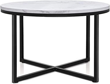 Artiss Round Coffee Table with Wooden Marble Finish Tabletop & Steel Base