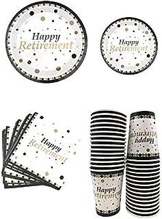 "Serves 30 Happy Retirement Complete Party Pack 9"" Dinner Paper Plates 7"" Dessert Paper Plates 12 oz Cups 3 Ply Napkins Hap..."
