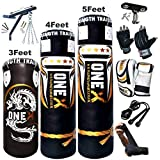 NEW 3-4-5 FT Filled Heavy Punch Bag Buyer Build Set,Chains,Bracket, Punching Gloves for Training Fitness Water proof Bag MMA (4ft with Bracket+Cutts Finger)