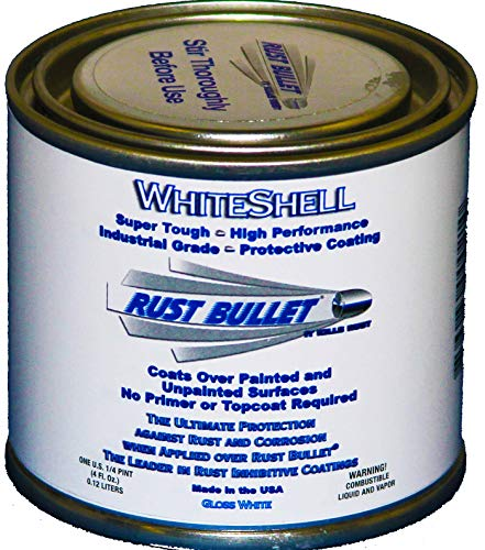Rust Bullet WhiteShell - Gloss White Rust Preventative Protective Coating, UV Resistant - No Topcoat Needed (4 oz can)