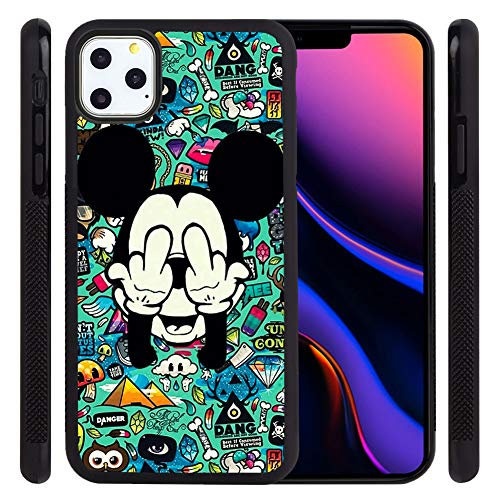 DISNEY COLLECTION Phone Case for iPhone 11 Pro Max (6.5 Inch) Cool Mickey Make Fuck Off Post Tire Skid Shock Proof Slim Light Rubber Bumper Cute Protective Cover for iPhone 11 Pro Max