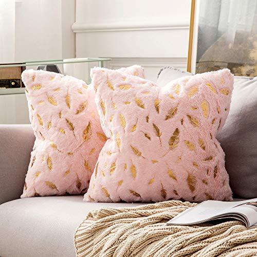 MIULEE 2 Piezas Funda de Cojines Plumas Estampadas Doradas Funda de Almohada Suave Cómoda para Sofá Cama Decorativas Modernas Rectangulares para Sillas Dormitorio Hogar 40x40cm Rosa