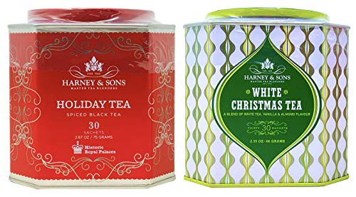 Harney & Sons Tea Holiday Tea Collection – Holiday and White Christmas Tea Gift Tins Pack of 2 (60 Tea Sachets Total)