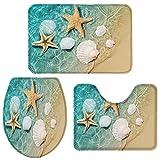 Big buy store Starfish Shell Beach Bathroom Rug Set of 3 Include Non-Slip Contour Mat, U-Shape Toilet Lid Cover and Absorbent Bath Mat, Ocean Home Bath Decor - Small