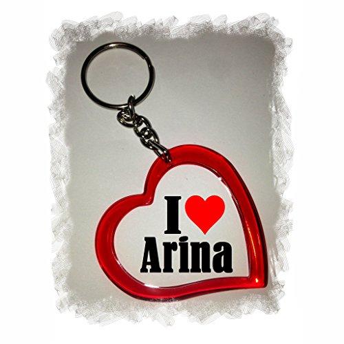 """EXCLUSIVO: Llavero del corazón """"I Love Arina"""" , una gran idea para un regalo para su pareja, familiares y muchos más! - socios remolques, encantos encantos mochila, bolso, encantos del amor, te, amigos, amantes del amor, accesorio, Amo, Made in Germany."""