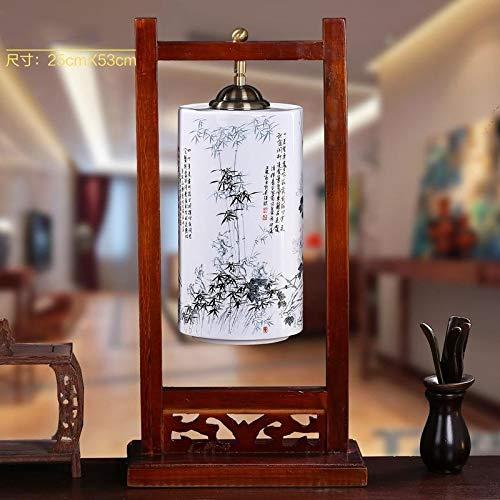 QXinjinxtd Lámparas para Habitaciones Lámpara De Mesa De Noche Habitación Sala Creativa Moderna China Sólido Titular De La Lámpara De Madera De Cerámica Lámpara De Mesa Accesorios de Dormitorio