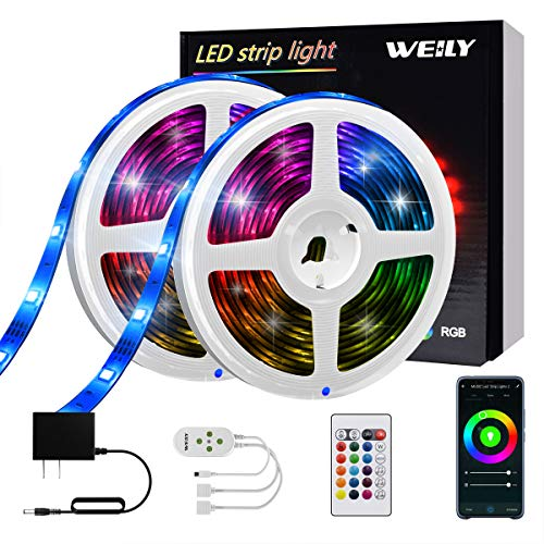 LED Strip Lights, WEILY Led Strip Lights Alexa 32.8ft with Remote Controller and Power Supply