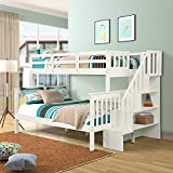 Recaceik Bunk Beds Twin Size, Solid Wood with Storage Stairs Full Length Guardrail for Kids and Teens Trundle, White