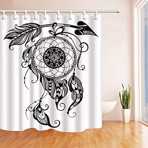KANGDISON Dreamcatcher douchegordijn, op maat gemaakt polyester, waterdicht, schimmelbestendig, douchegordijnenset, met haken, kunstdruk, badgordijn, wit zwart, 72 x 72 inch, 183 x 183 cm
