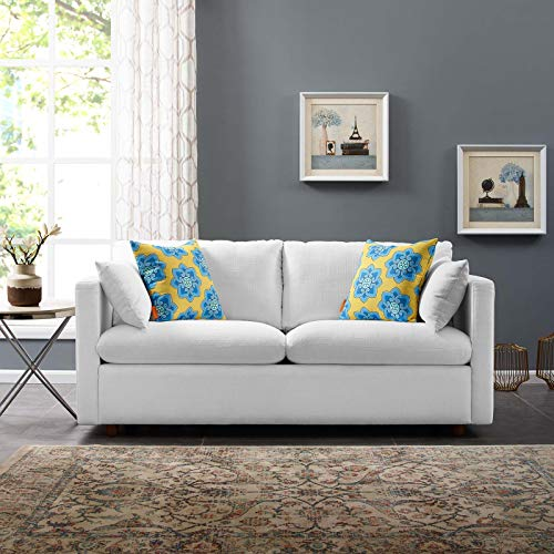Modway EEI-3044 Activate Contemporary Modern Fabric Upholstered Apartment Sofa Couch In White