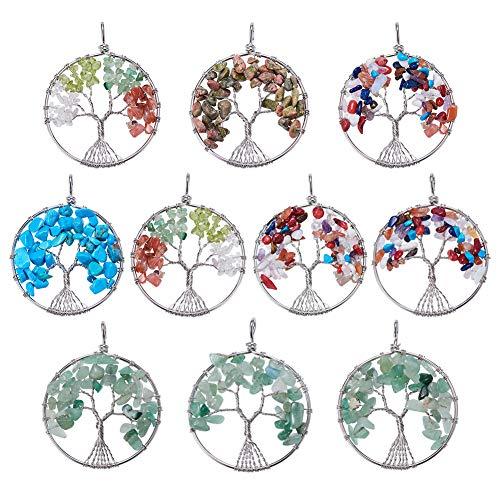 NBEADS Charms Ciondolo Albero della Vita, 10 Pezzi Pendenti Stone Life Tree per La Realizzazione di Portachiavi e Decorazioni Regalo Fai da Te