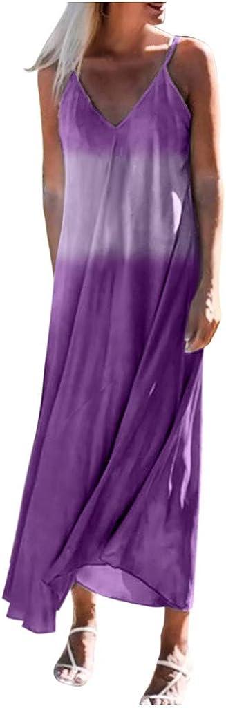 ZSBAYU Womens Summer Casual Maxi Dress Loose V-Neck Spaghetti Suspender Gradient Sleeveless Flowy Long Dress