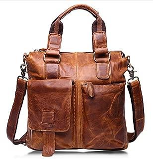 Men's Vintage Crazy Horse Genuine Cow Leather Business Bag A4 Work Tote Briefcase Messenger Bag Shoulder Bag , Fit 11