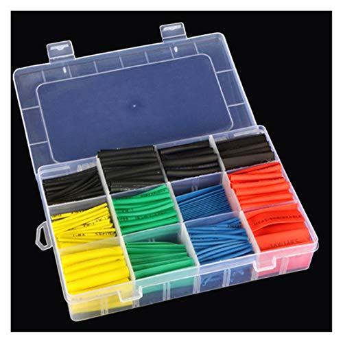 XIAOSHI Little Oriental Anschlüsse 530 stücke Auto Elektrische Kabelrohr Kits Wärmeschrumpf Rohr Schlauch Wrap Hülse Sortiert 8 Größen Mischfarbdraht Verbinden (Color : Box Package)