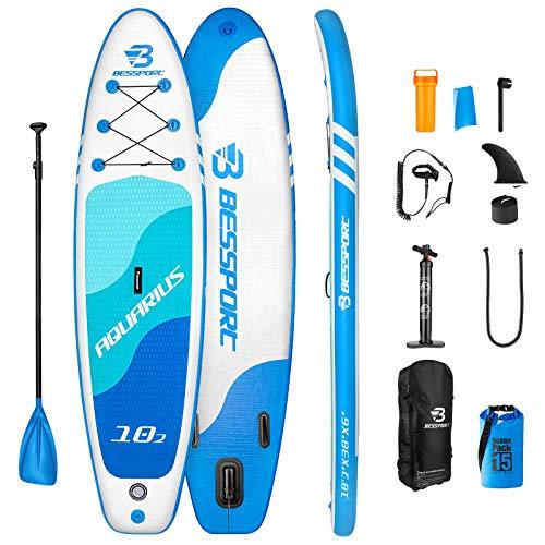 Bessport Tabla Paddle Surf Hinchable, Stand-up Paddle Surf de Sup, 310x76x15cm, Carga...