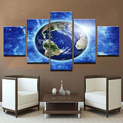 5Tdfc Leinwand abstrakte Bilder Wandkunst HD Drucke Poster Home Decor 5 Stück Planet Erde aus dem Weltraum Gemälde Wohnzimmer Rahmen