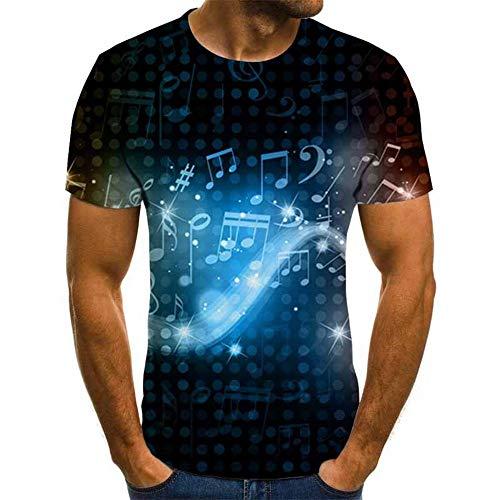 GHRFZC 3D T-Shirt,Männer T-Shirt 3D-Gedruckten Muster Quick Dry and Sommer T-Shirts Neuheit Neuheit Abstrakte Musik Symbol Muster Short Sleeve T-Shirt, 5XL