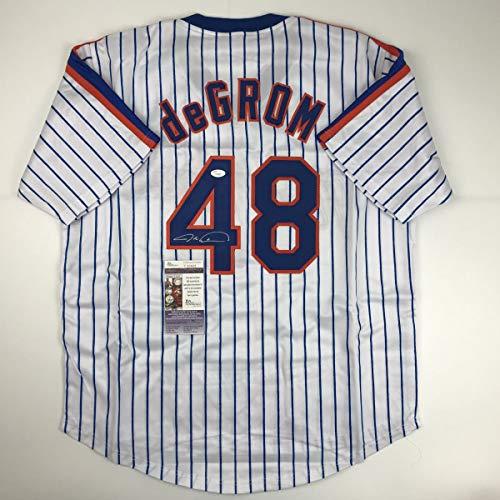Autographed/Signed Jacob DeGrom New York NY Pinstripe Baseball Jersey JSA COA