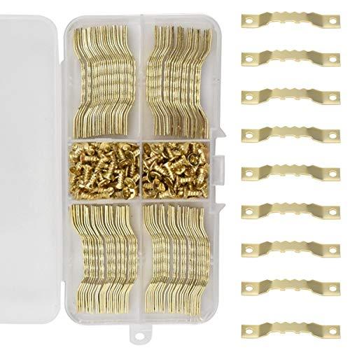 100 Stück Bildaufhänger Aufhänger für Holzrahmen Zackenaufhänger Bilderhaken für Keilrahmen Hängehaken für Bilderrahmen mit 200 Schrauben
