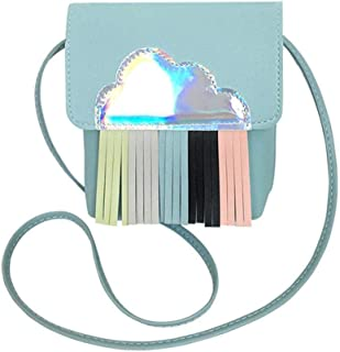 InnErsetting Laser Cloud Tassel Decor Shoulder Handbags Women Crossbody Bag for Adult Carry-on Ornaments and Collecting Light Blue