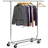 [page_title]-Yaheetech Edstahlstahl Kleiderständer auf Rollen 113 kg Stabiler Kleiderstange Wäscheständer höhenverstellbar zusammenklappbar