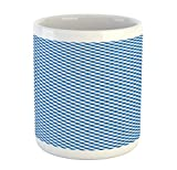 Ambesonne Tartan Mug, Checkered Gingham Pattern Old Fashioned Bistro Restaurant Style Geometric, Ceramic Coffee Mug Cup for Water Tea Drinks, 11 oz, Night Blue and White