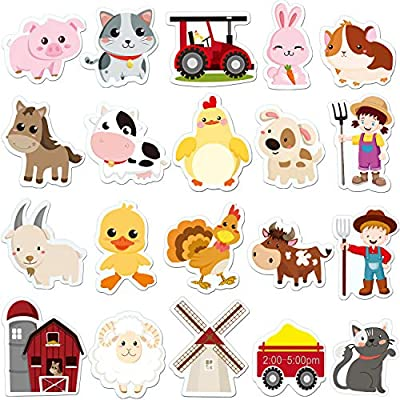 Farm Animals Thick Gel Clings Removable and Reusable Window Clings Decals Stickers for Kids, Toddlers and Adults Home Airplane Classroom Nursery Farm Animals Party Supplies Decorations 20 Pieces