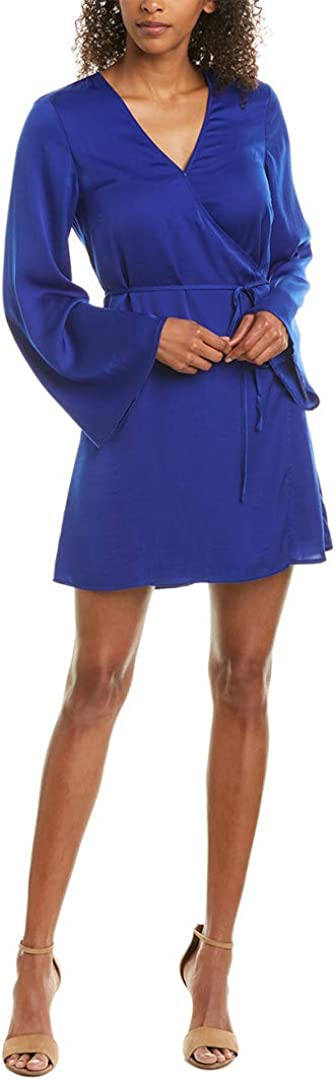 cupcakes and cashmere Women's Kaidence Satin Wrap Dress W/Bell Sleeves