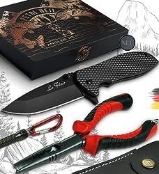 Le Flair® Profi Angelmesser Set mit Gürteltasche - Taschenmesser mit Hakenzange für Angler mit Angelschnurschere, Outdoor Messer Einhandmesser sehr scharf mit Tasche. Perfektes Angler Zubehör Set