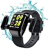 MUMKAIR Smart Watch Bracelet TWS Wireless Earbuds 2 in 1 Fitness Tracker with Multi-Functional and Multi-Language for Motion Tracking Listen Music (Black)