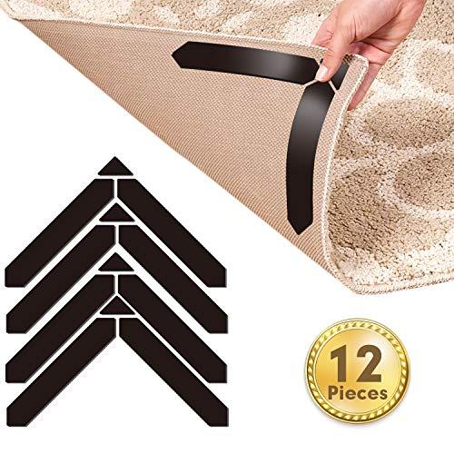Mewtwo Teppich Anti Rutsch Unterlage, 12 Stück Anti Rutsch Teppichunterlage Für Hartholzböden und andere, Washable Wiederverwendbar Teppich Aufkleber Starke Klebrigkeit, 3M Klebeband 180x30mm