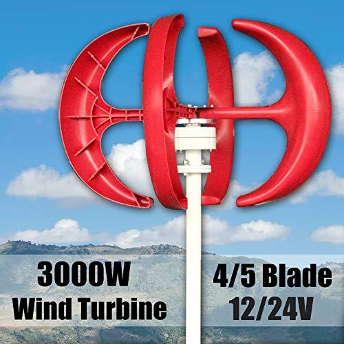 SHIJING 3000 Watt Windgenerator 4/5 Klingen Generator 12/24 V Laterne Windkraftanlagen Vertikale Achse Mit Controller Für Haushalt Straßenbeleuchtung,4Blades