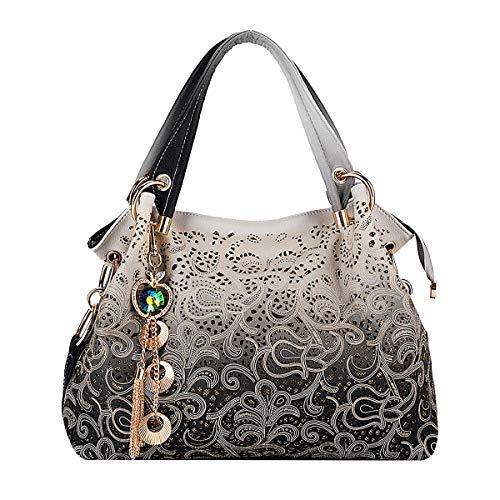 Tisdaini® Damenhandtaschen Mode große Schultertaschen PU Leder Shopper Umhängetaschen Grau