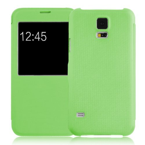 JammyLizarD Galaxy-S5-Hülle Klappdeckel mit Sichtfenster für Samsung Galaxy S5 / S5 Neo / S5 Plus, grün