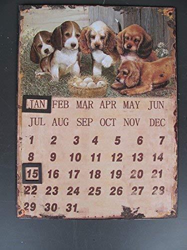 linoows G3828: Nostalgie Wandkalender, Magnetkalender mit Hundewelpen, Blechkalender
