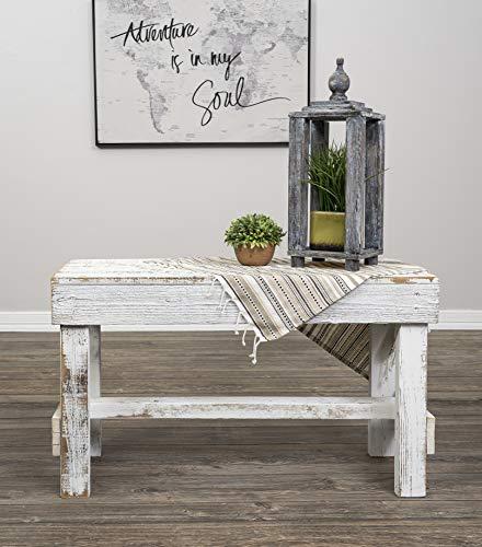 Del Hutson Designs Natural Reclaimed Barnwood Rustic Farmhouse Bench, USA Handmade Country Living Decor (White)
