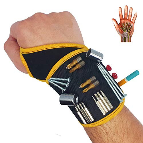 BinyaTools Magnetic Wristband -Black- With Super Strong Magnets Holds Screws, Nails, Drill Bit. Unique Wrist Support Design Cool Handy Gadget Gifts for Fathers, Boyfriends, Handyman, Electrician