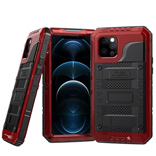 LOXO CASE Funda para iPhone 12/12 Pro/12 mini/12 Pro MAX,IP68 Impermeable,Antigolpes,360°Protección Rígida Antigravedad Carcasa Resistente al Impacto Militar Duradera Blindada,Red,iPhone12ProMax