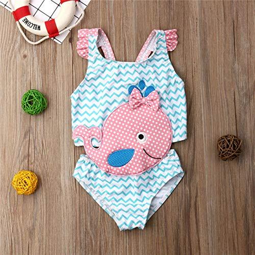 Kinder Bademode Mädchen Badeanzug Bowknot One-Piece Goldfish-Overall,Blue,2T