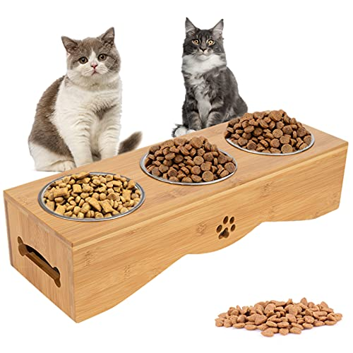 Katzennapf Set mit 3 Fressnapf Erhöhte 3er Napf Ständer, Katzennäpf Hundenäpf, Bambus Futternapf-Halterung mit 3X Edelstahl-Schalen, Futterstation für Katzen oder kleine Hunde…
