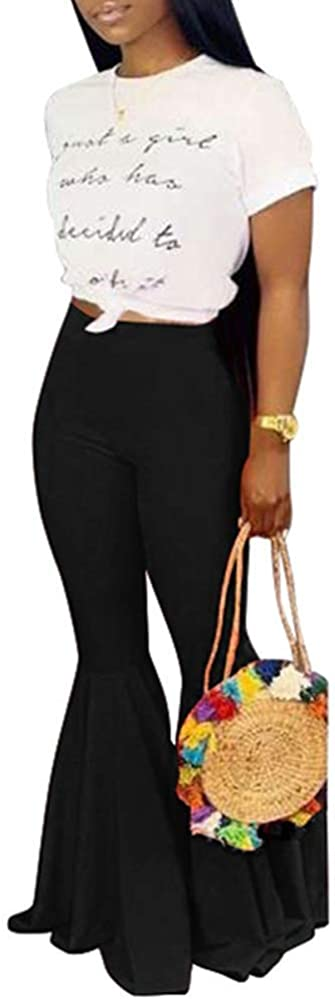 ksotutm Free shipping on posting reviews Women's Causal Ruffle Flare Slim Columbus Mall High Waist Bell Bottoms