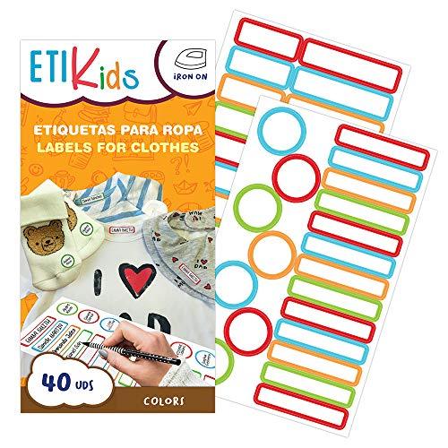 ETIKids 40 Etichette Vestiti Termoadesive da STIRARE. Formati e colori vari, per contrassegnare indumenti, vestiti dei bambini a scuola ed asilo. (Color)