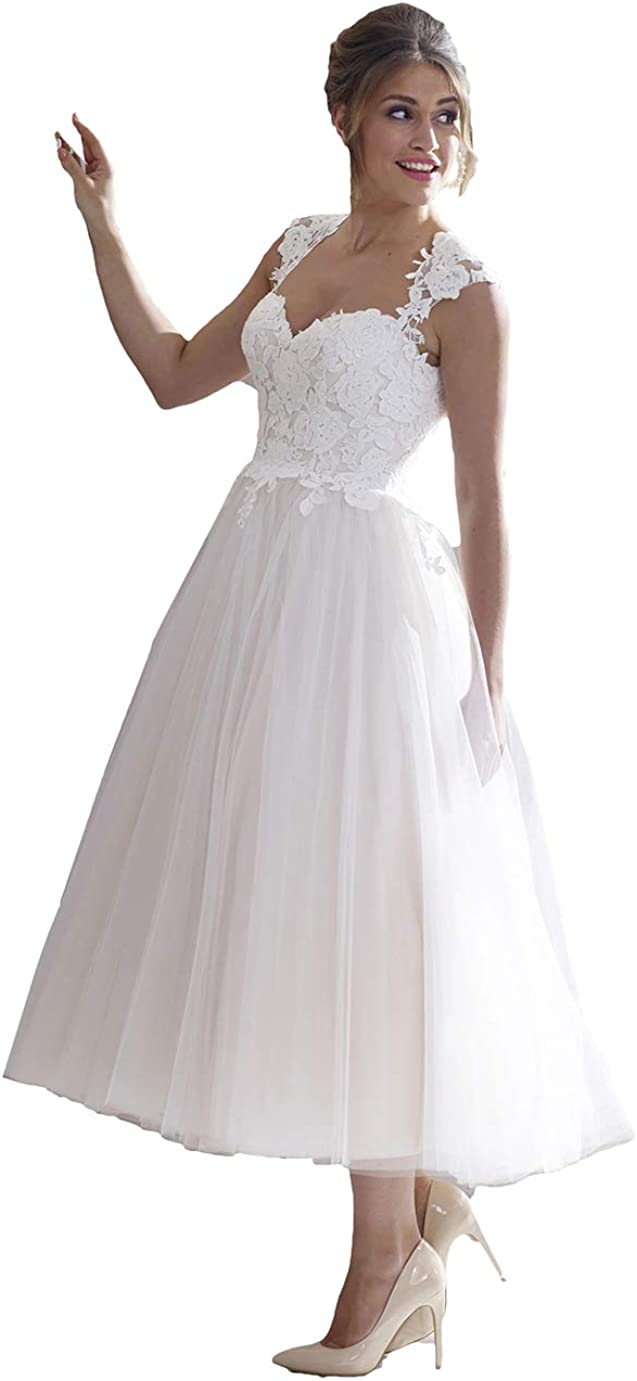 Amazon.com Awishwill Women's A line Tulle Lace Bodice Wedding ...