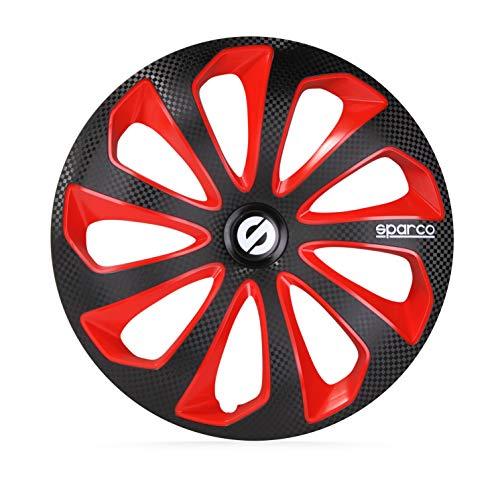SPARCO SP 1575BKRDC Jeu d'enjoliveurs Sicilia 15-inch Noir/Rouge/carboné