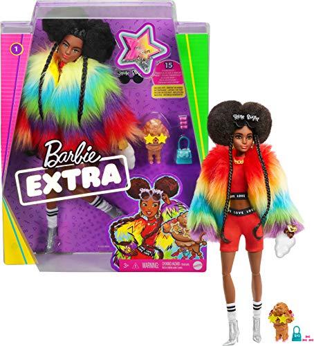 Barbie- Muñeca Extra 2 con un Look Brillante y cachorrito de Mascota (Mattel GVR04)