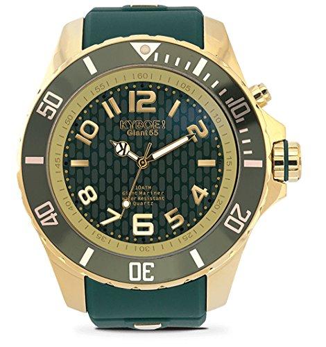 KYBOE! Reloj de Cuarzo de Acero Inoxidable y Silicona (Modelo: Gold Jungle)