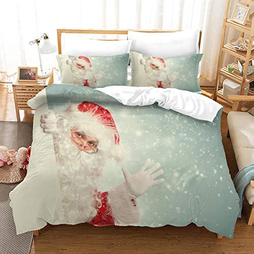 Juego de Funda nórdica de 3 Piezas 1 Doble Colcha 2 Funda de Almohada 200x200cm Lindo santa 3D Tema navideño Microfibra Suave Navidad Ropa de Cama decoración navideña regalo para niños