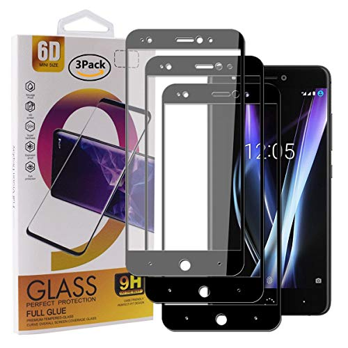 Guran [3 Paquete Protector de Pantalla para BQ Aquaris X Pro/BQ Aquaris X Smartphone Cobertura Completa Protección 9H Dureza Alta Definicion Vidrio Templado Película - Negro